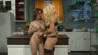 Lettone lesbiche si leccano in cucina